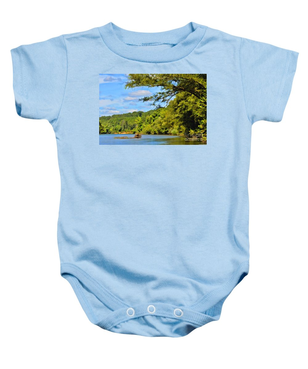 River Baby Onesie featuring the photograph Current River Mo - Digital Paint by Debbie Portwood