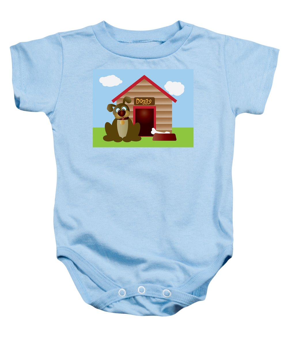 Puppy Baby Onesie featuring the digital art Cute Puppy Dog With Dog House Illustration by Jit Lim