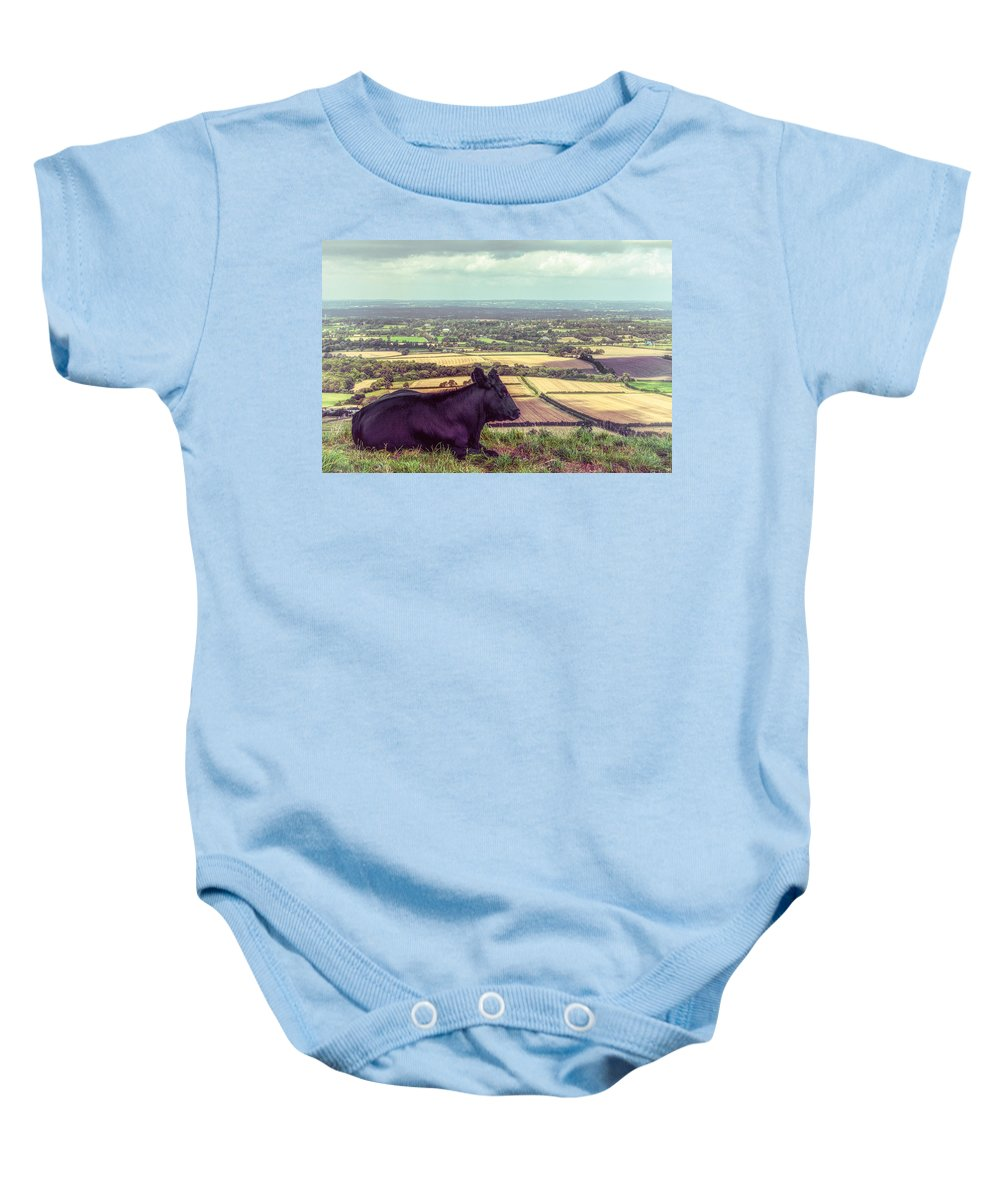 Bovine Baby Onesie featuring the photograph Daisy Enjoys The View From Truleigh Hill by Chris Lord