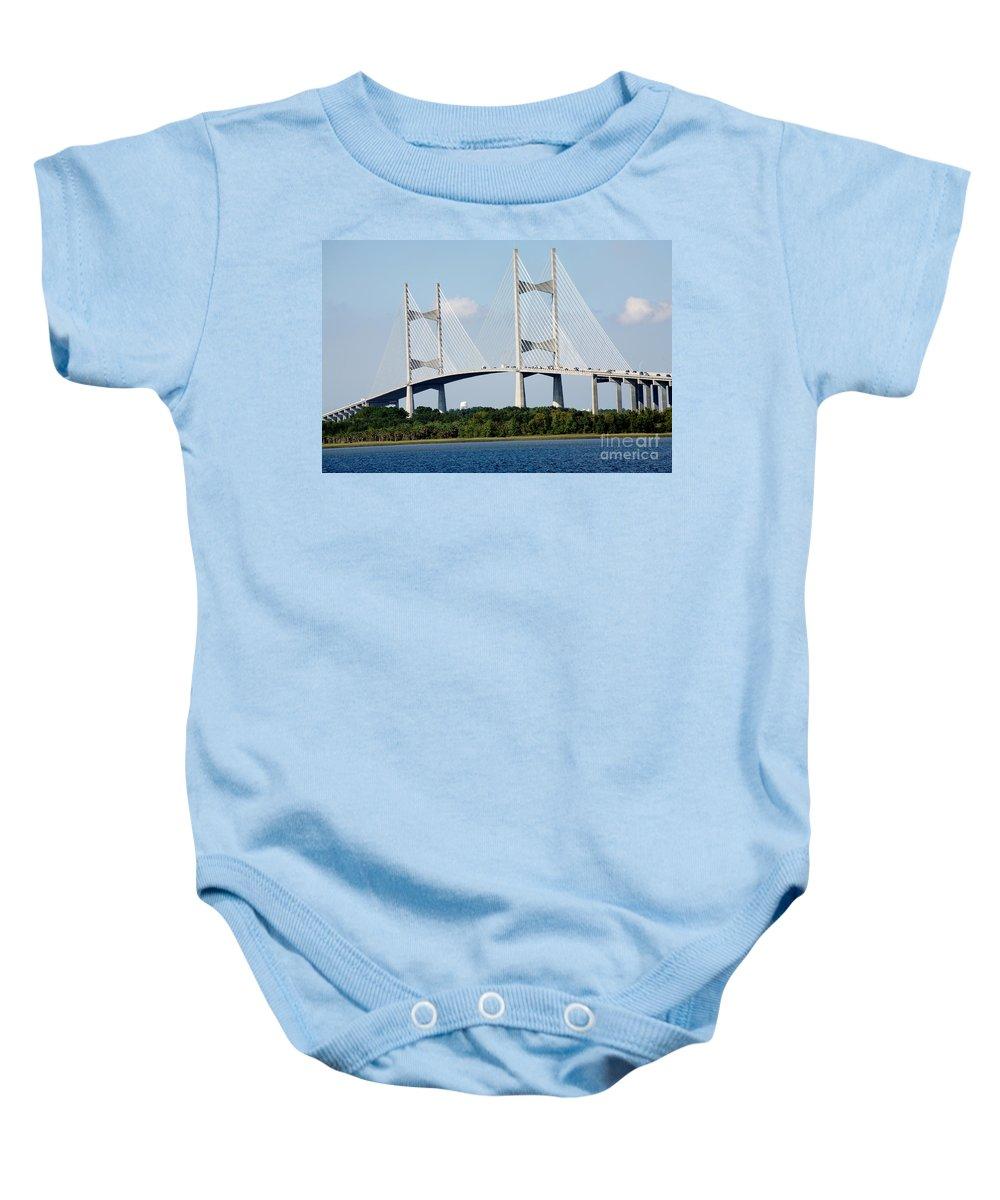 Dames Point Bridge Baby Onesie featuring the photograph Dames Point Bridge Jacksonville Florida by Bill Cobb