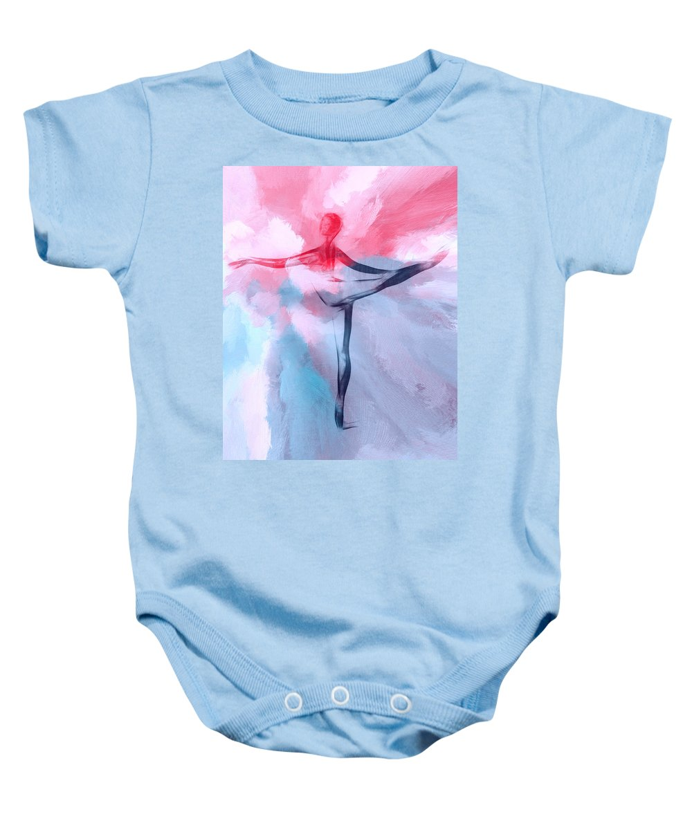 Ballet Ballerina Heaven Cloud Clouds Painting Dancer Dance Dancing Girl Woman Female Color Colorful Expressionism Baby Onesie featuring the painting Dancing In Heaven by Steve K