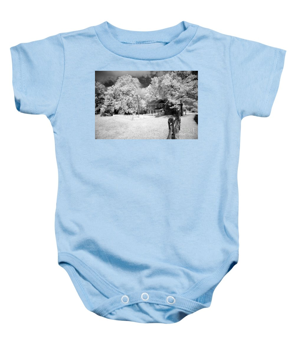 Infrared Baby Onesie featuring the photograph Daniel Boone Homestead by Paul W Faust - Impressions of Light