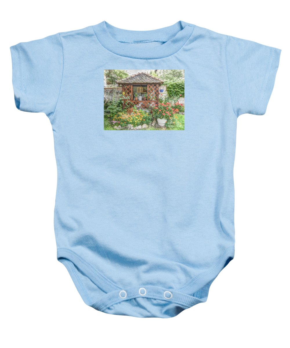 Garden Baby Onesie featuring the digital art Dans Le Jardin by Lilian F Norris