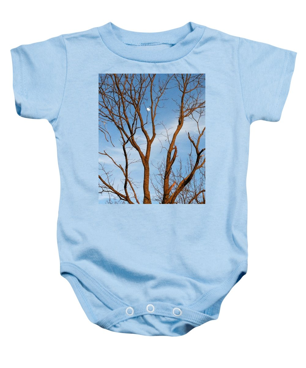 Sunset Baby Onesie featuring the photograph Daylight Moon by Jennifer Westlake