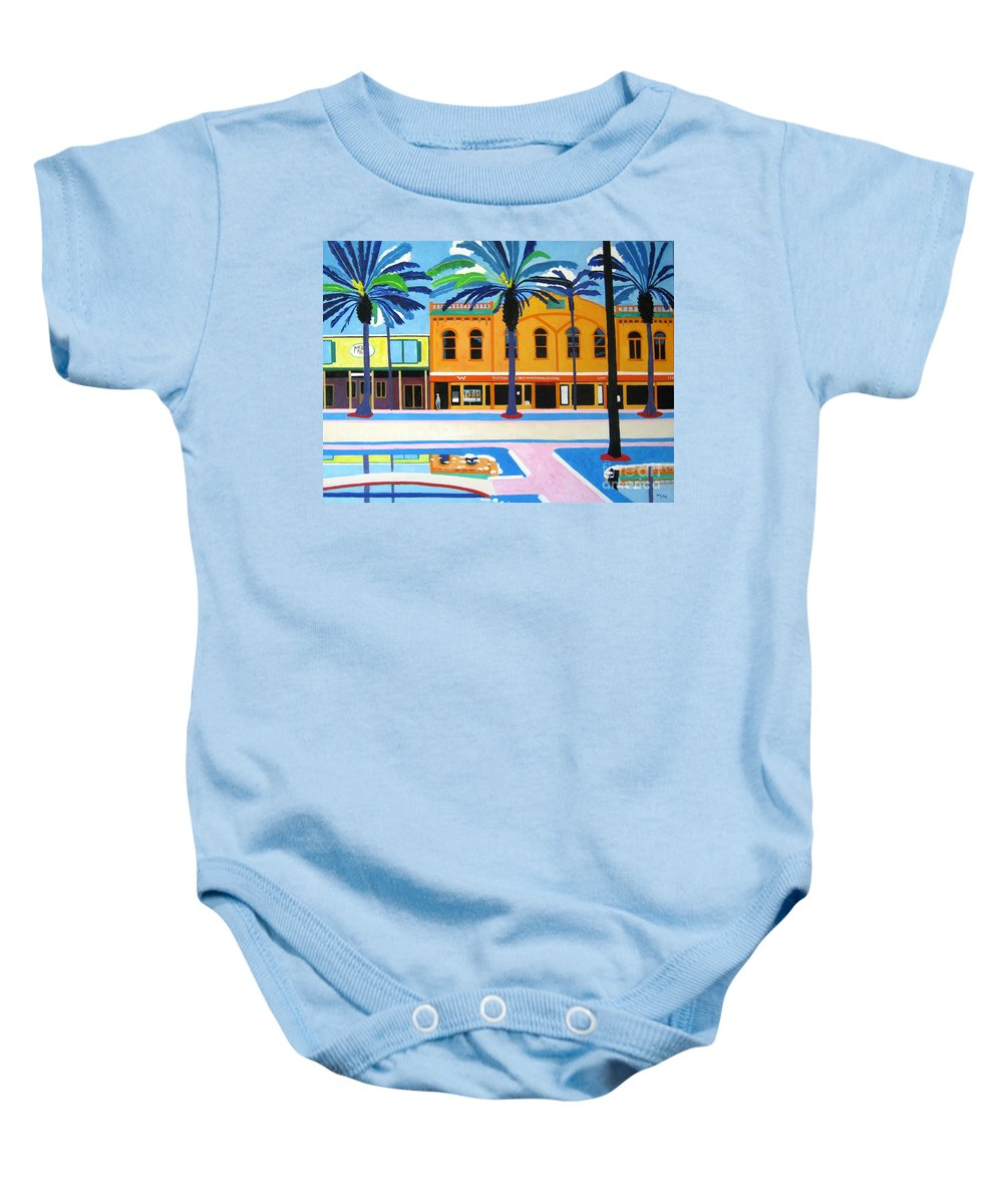 Irish Baby Onesie featuring the painting Mckays Irish Pub Daytona Florida by Lesley Giles
