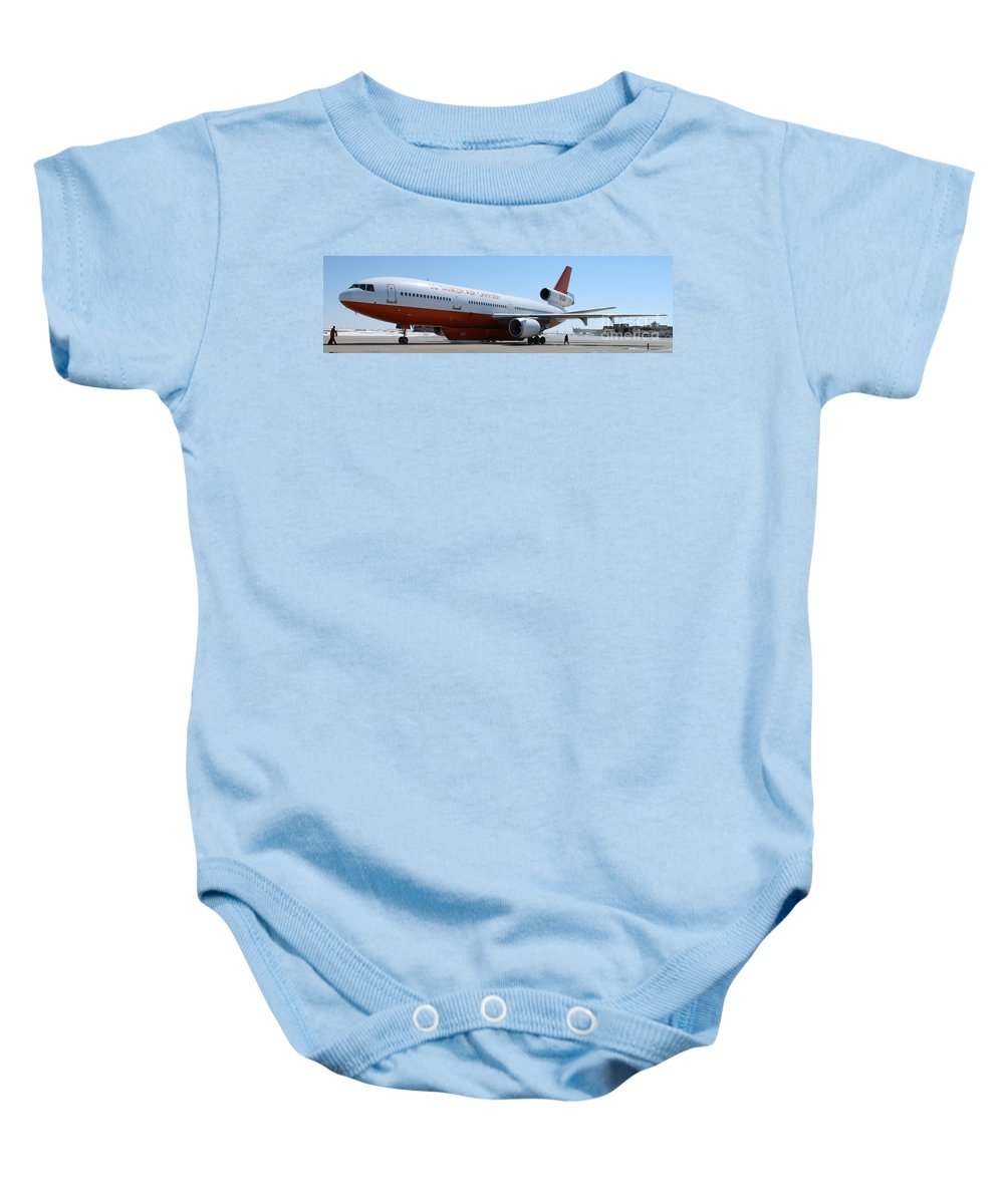 Tanker 910 Baby Onesie featuring the photograph Dc-10 Air Tanker At Rapid City by Bill Gabbert
