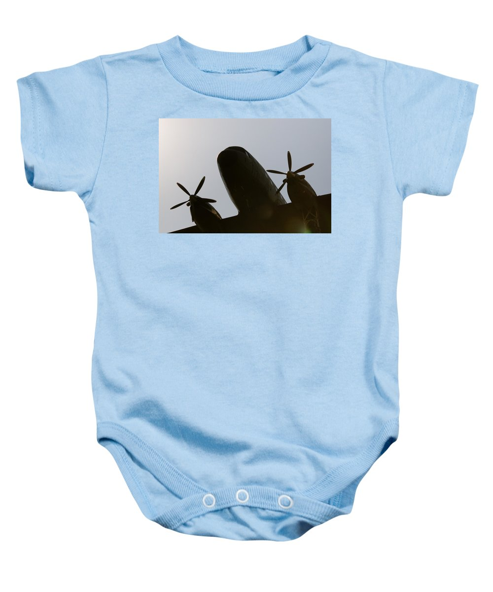 Douglas C-47tp Turbo Dakota Baby Onesie featuring the photograph Dc Shadow by Paul Job