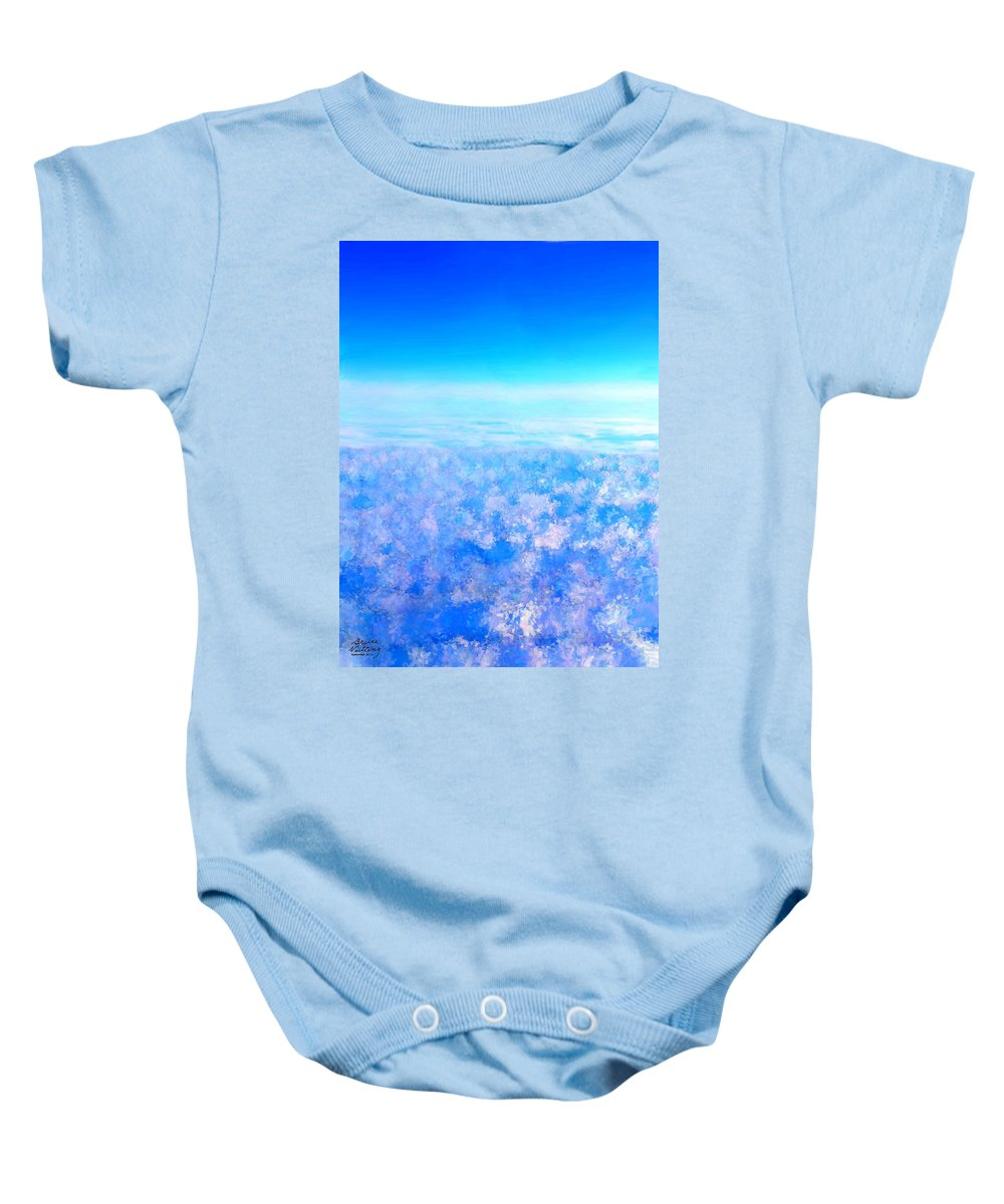 Blue Baby Onesie featuring the painting Deep Blue Sky And Clouds by Bruce Nutting
