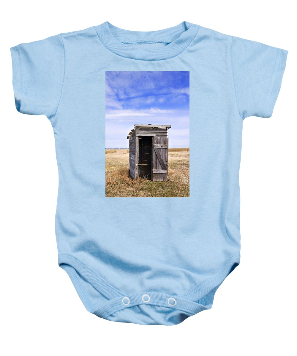 Toilet Baby Onesie featuring the photograph Defunct Outhouse At Rural Elementary School by Donald Erickson