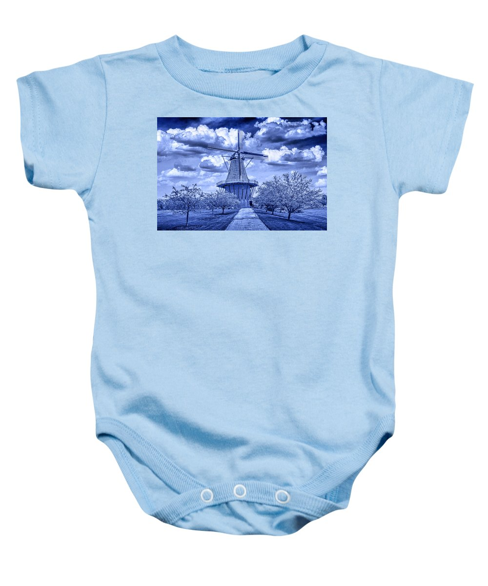 Art Baby Onesie featuring the photograph deZwaan Holland Windmill in Delft Blue by Randall Nyhof