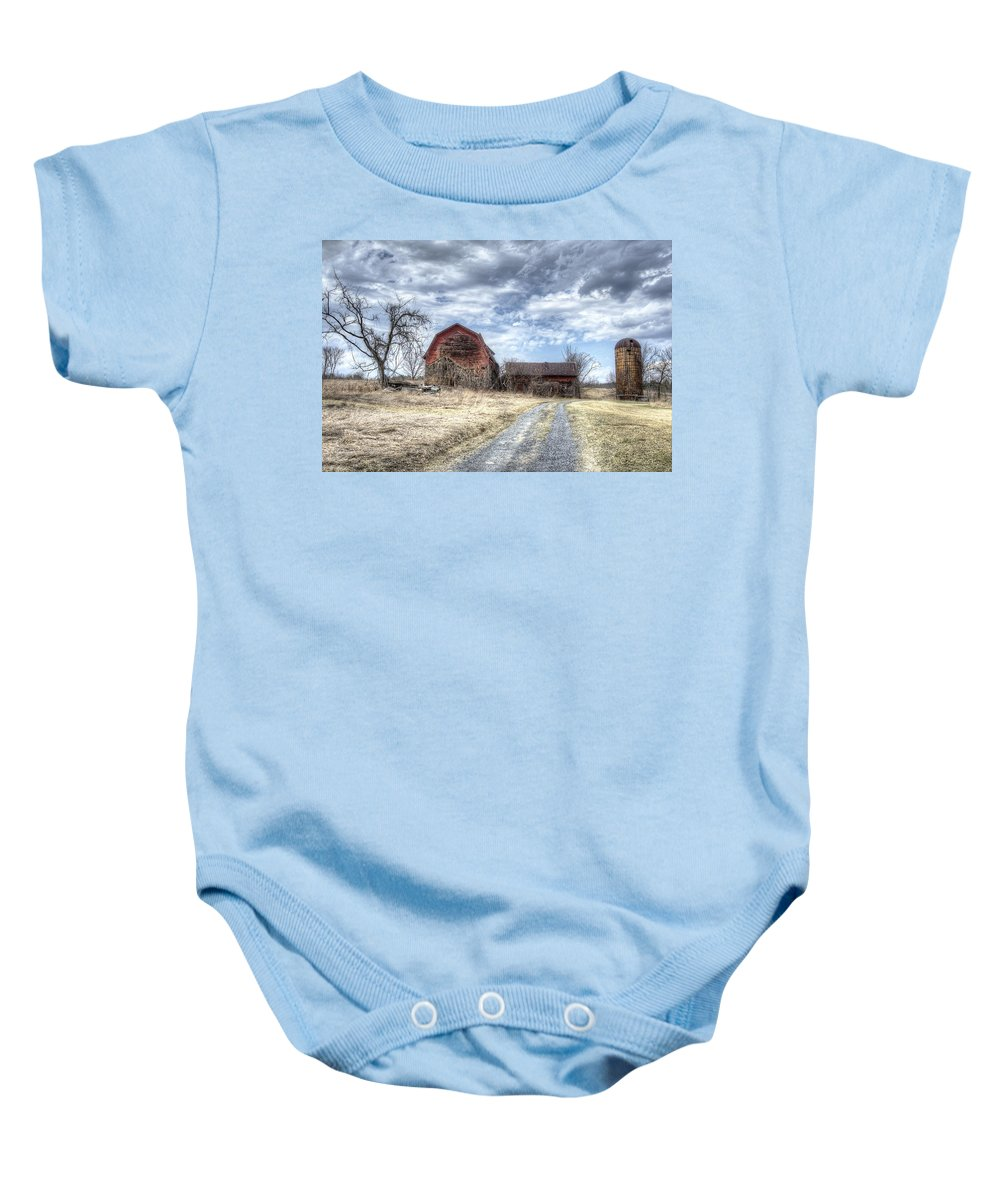 Barn Baby Onesie featuring the photograph Dilapidated Barn by Donna Doherty