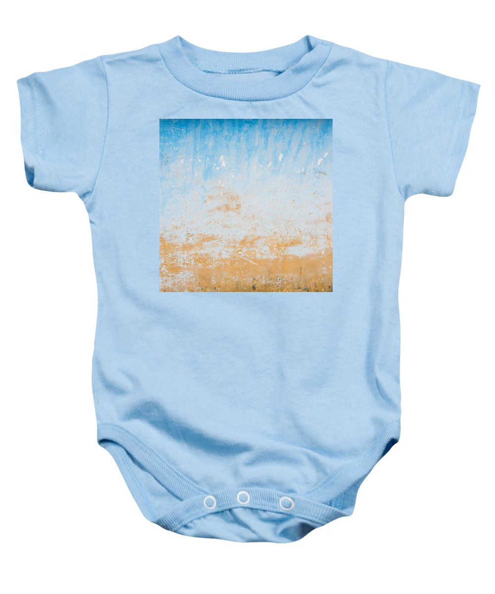 Blue Baby Onesie featuring the photograph Dilapidated Beige And Blue Wall Texture by Dutourdumonde Photography