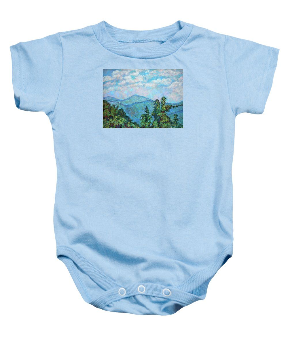 Kendall Kessler Baby Onesie featuring the painting Distant View Of Peaks Of Otter by Kendall Kessler