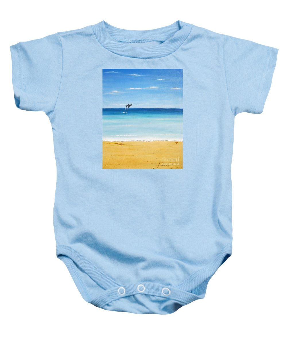 Dolphins Baby Onesie featuring the painting Dolphin Beach by Jerome Stumphauzer