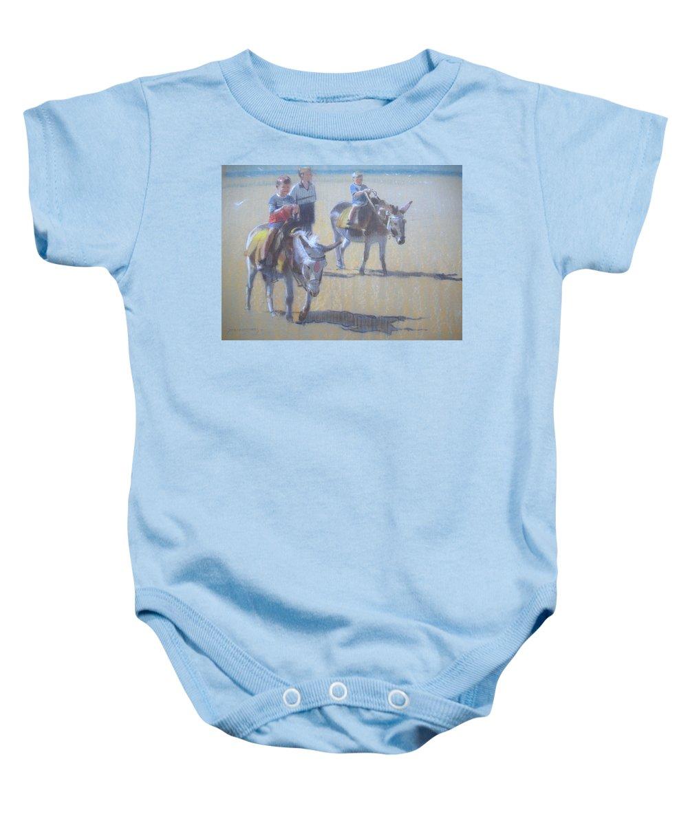 Beach Baby Onesie featuring the painting Donkeys At Borth Beach by Derek Williams