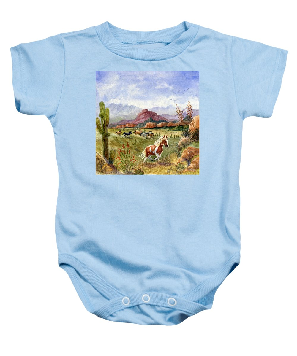 Mustang Baby Onesie featuring the painting Don't Fence Me In Part One by Marilyn Smith
