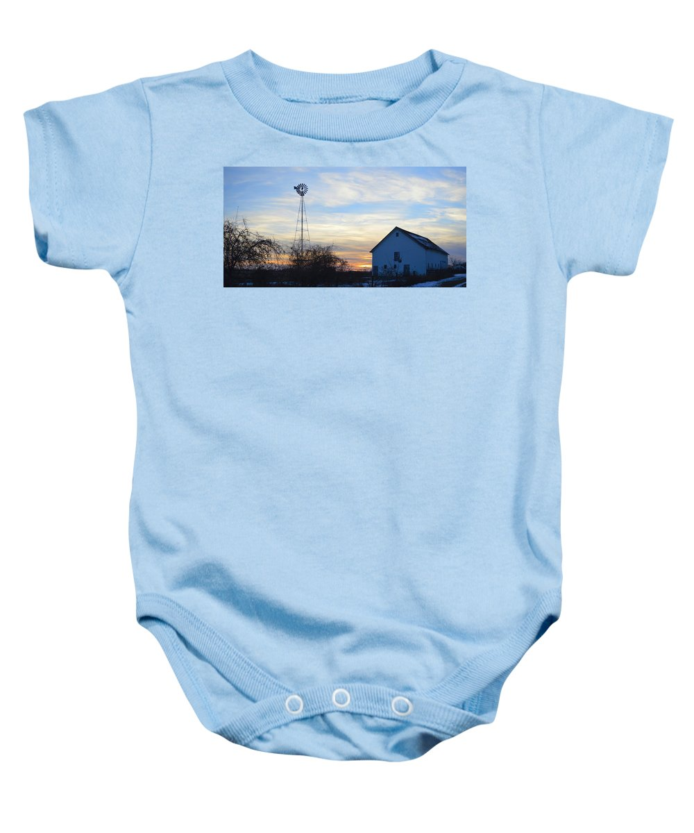 Barn Baby Onesie featuring the photograph Dougherty Barn Panorama by Bonfire Photography