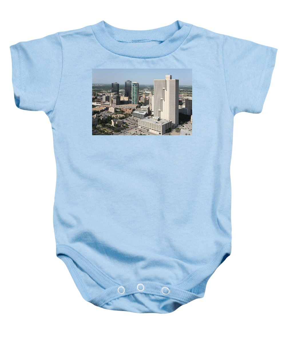 Burnett Plaza Baby Onesie featuring the photograph Downtown Fort Worth Skyline by Bill Cobb