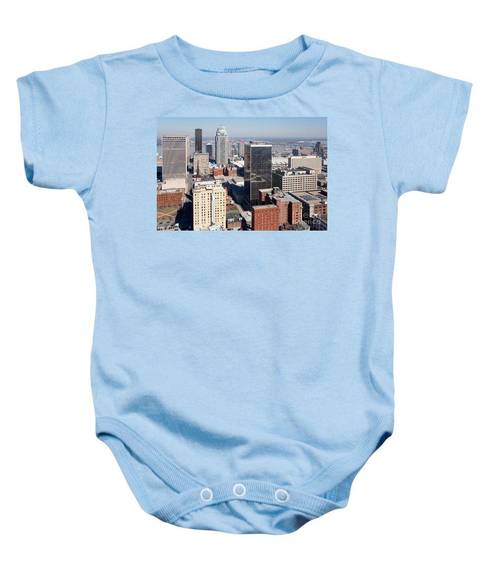 Kentucky Baby Onesie featuring the photograph Downtown Louisville Kentucky by Bill Cobb
