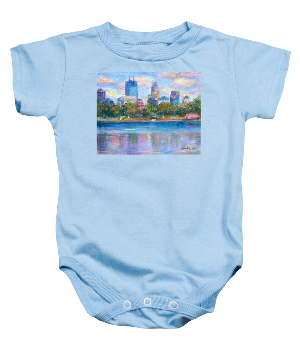 Quin Sweetman Baby Onesie featuring the painting Downtown Minneapolis Skyline From Lake Calhoun by Quin Sweetman