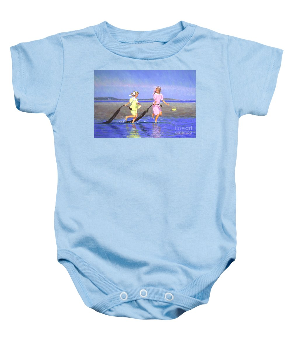 Children Baby Onesie featuring the painting Dragon Tales by Candace Lovely
