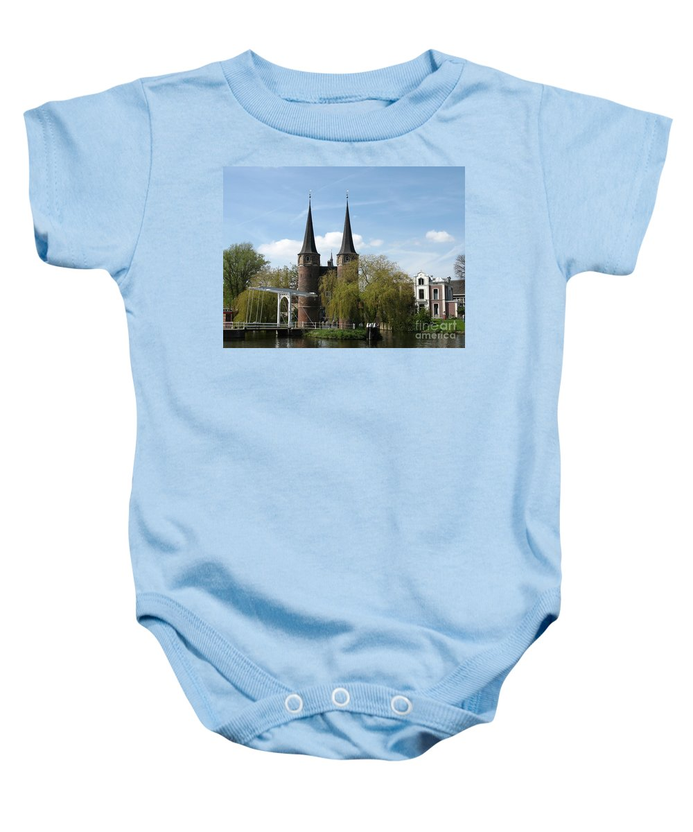 Drawbridge Baby Onesie featuring the photograph Drawbridge - Delft - Netherlands by Christiane Schulze Art And Photography