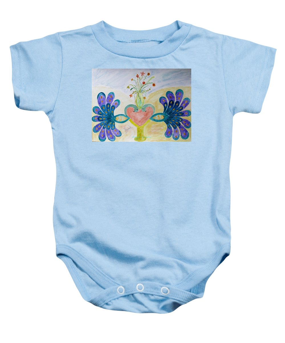 Dreamy Peacocks Baby Onesie featuring the painting Dreamy Heart by Sonali Gangane