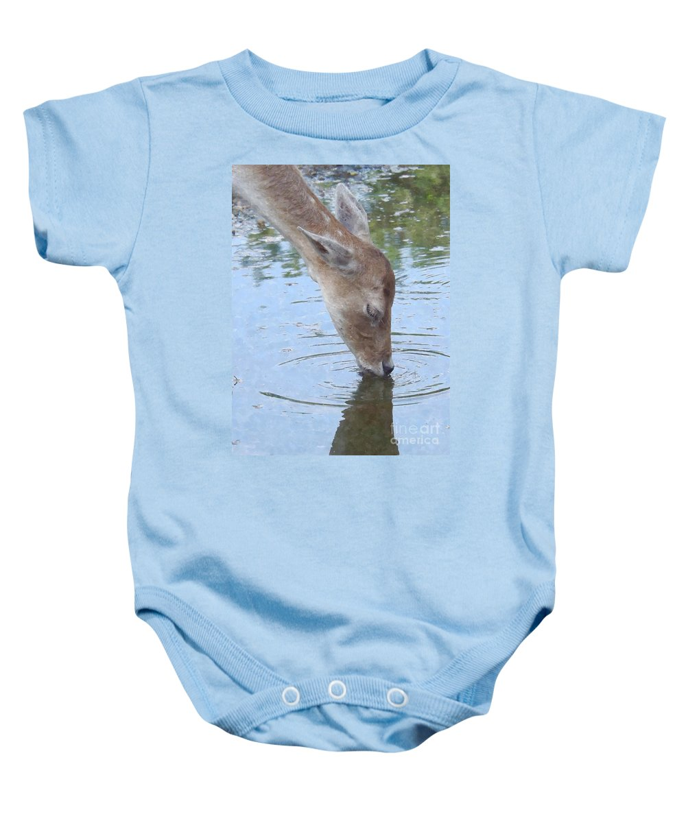 Doe Baby Onesie featuring the painting Drinking Doe by Sara Raber
