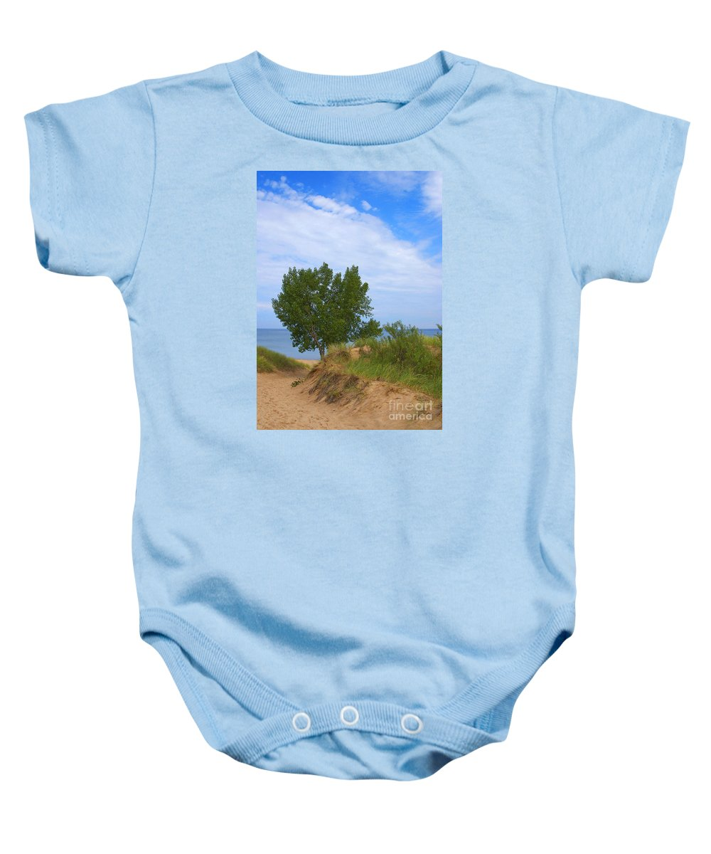 Dune Baby Onesie featuring the photograph Dune - Indiana Lakeshore by Ann Horn