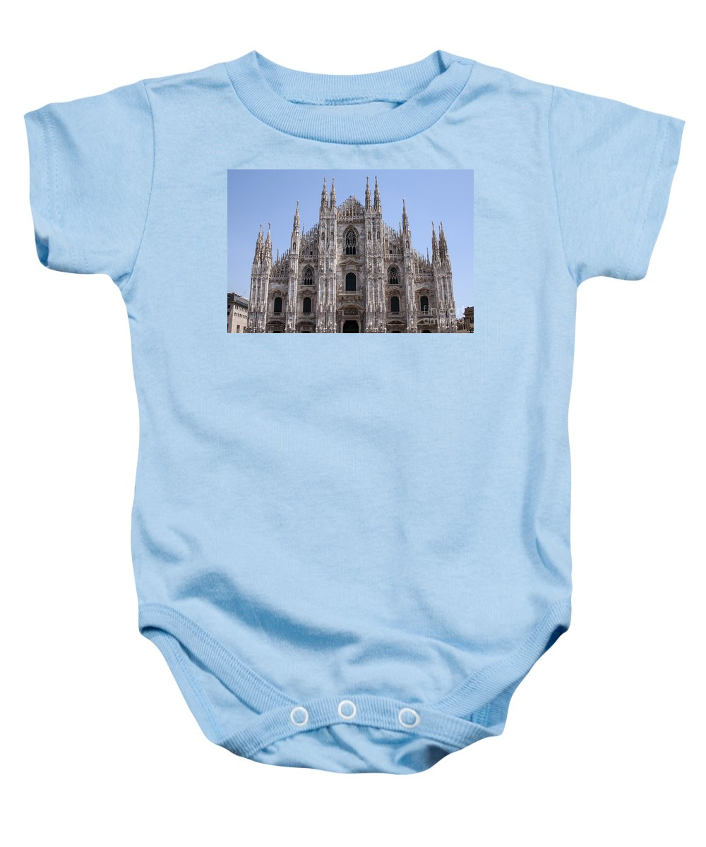 Milan Cathedral Italy Duomo Di Milano Cathedrals Church Churches Building Buildings Spire Spires Places Places Of Worship Structure Structures Landmark Landmarks Cityscape Cityscapes Baby Onesie featuring the photograph Duomo Di Milano by Bob Phillips