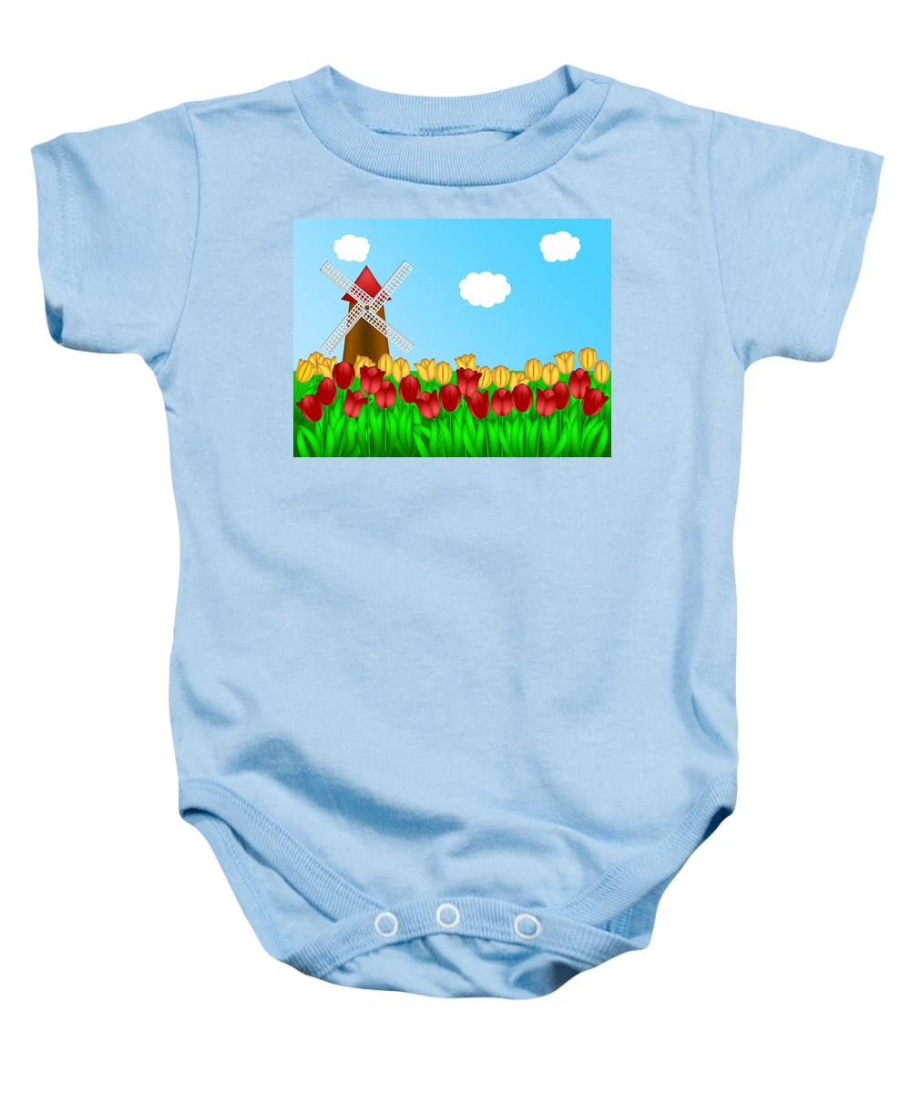 Tulips Baby Onesie featuring the digital art Dutch Windmill In Tulips Field Farm Illustration by Jit Lim