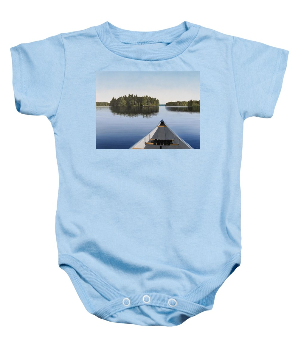 Canoe Baby Onesie featuring the painting Early Evening Paddle by Kenneth M Kirsch