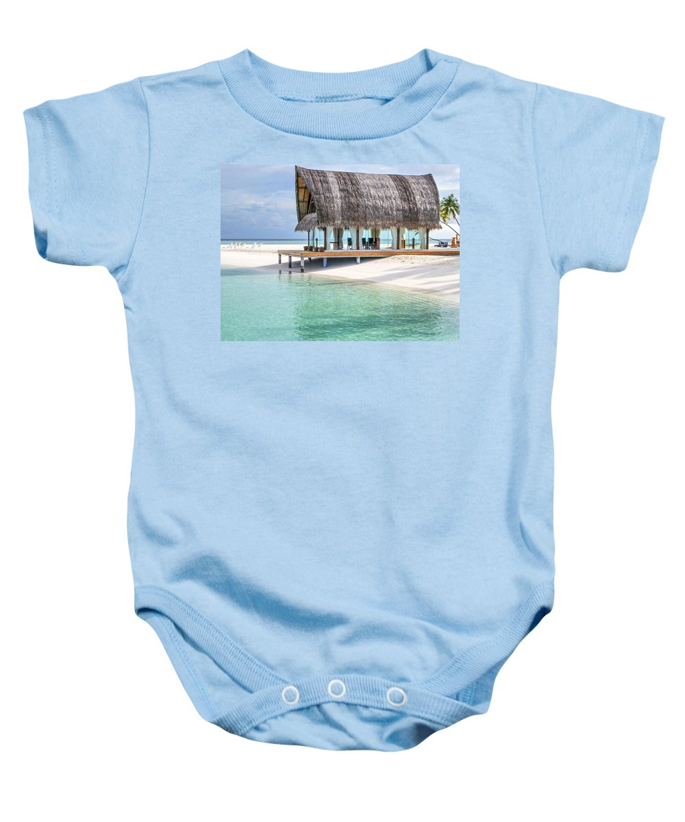 Palms Baby Onesie featuring the photograph Early Morning At The Maldivian Resort by Jenny Rainbow
