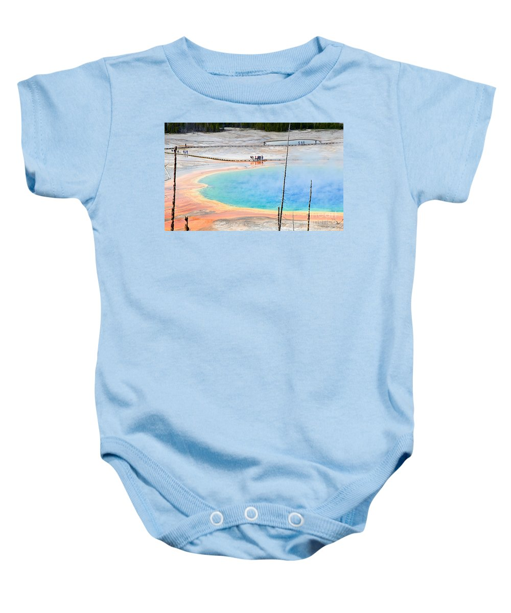 Grand Prismatic Baby Onesie featuring the photograph Earth Rainbow - Overhead View Of Grand Prismatic Spring In Yellowstone National Park. by Jamie Pham