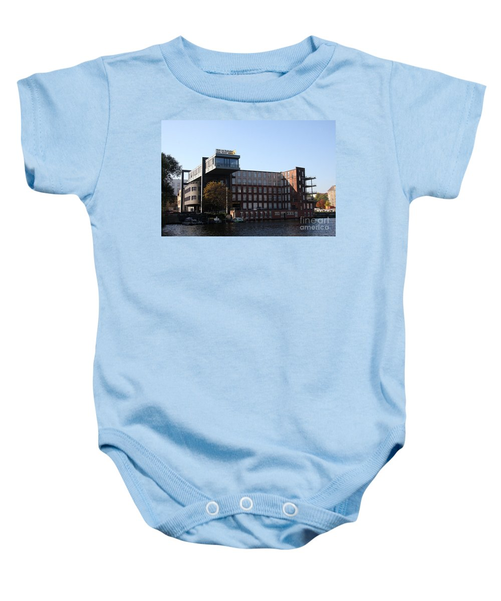 Spree Baby Onesie featuring the photograph East Harbor - Berlin by Christiane Schulze Art And Photography