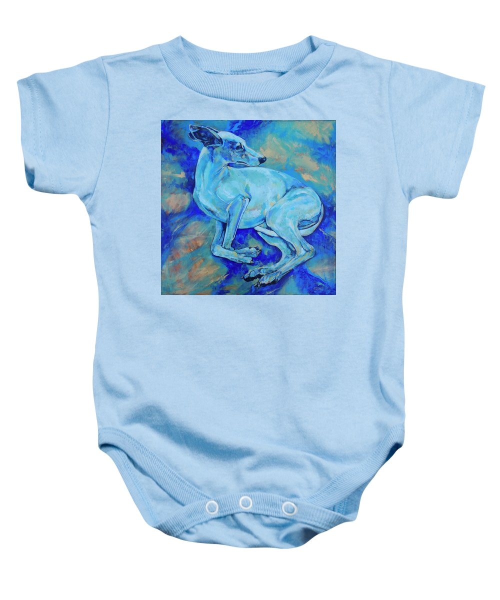 Dog Baby Onesie featuring the painting Effects Of Gravity-2 by Derrick Higgins