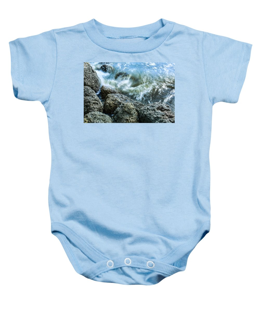 Jetty Baby Onesie featuring the photograph Elements by Paula OMalley
