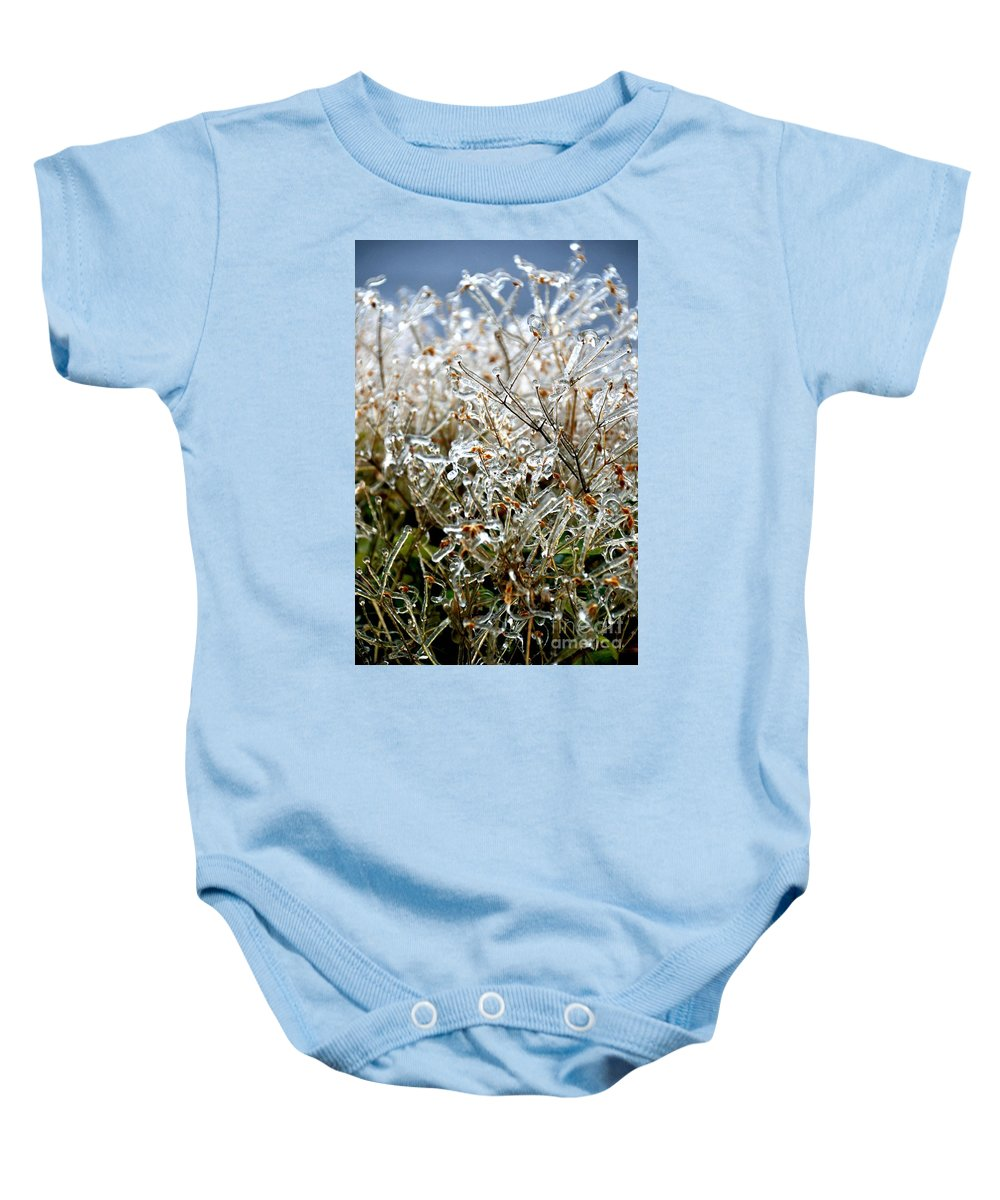 Ice Baby Onesie featuring the photograph Encased In Ice by Bonnie Myszka