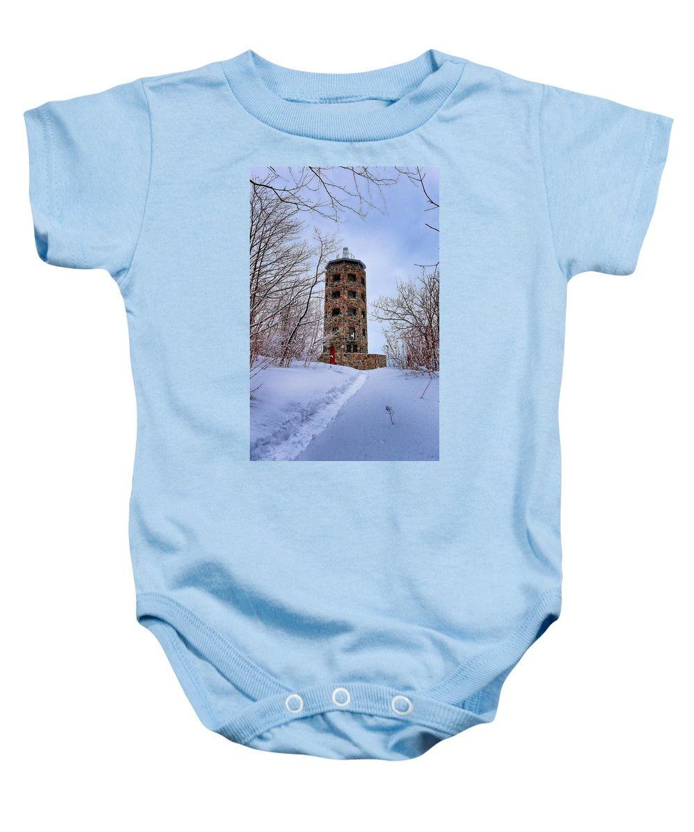 Winter Baby Onesie featuring the photograph Enger Tower In Winter by Bryan Benson