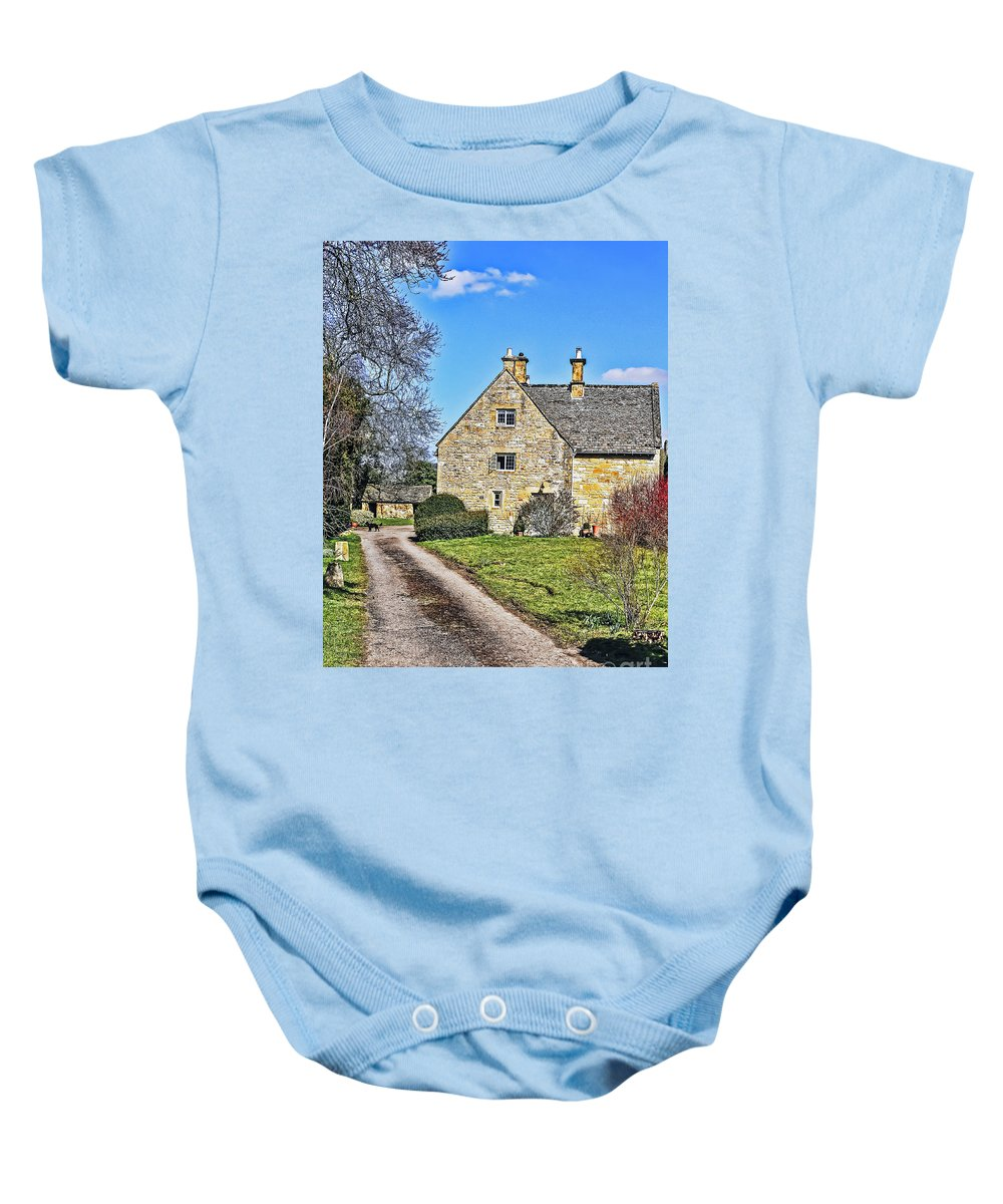 Travel Baby Onesie featuring the photograph English Farmhouse by Elvis Vaughn