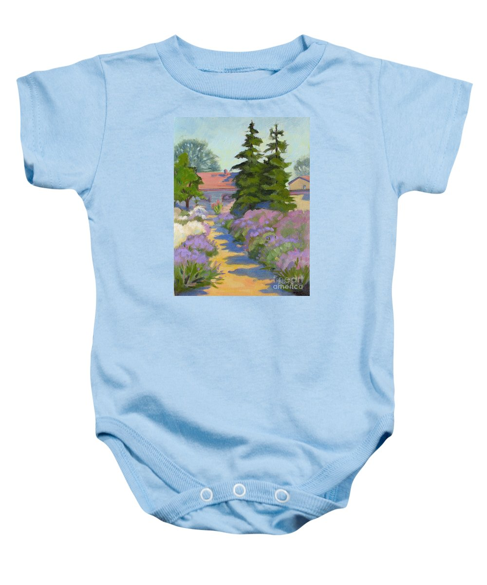 Lavender Baby Onesie featuring the painting English Lavender by Rhett Regina Owings
