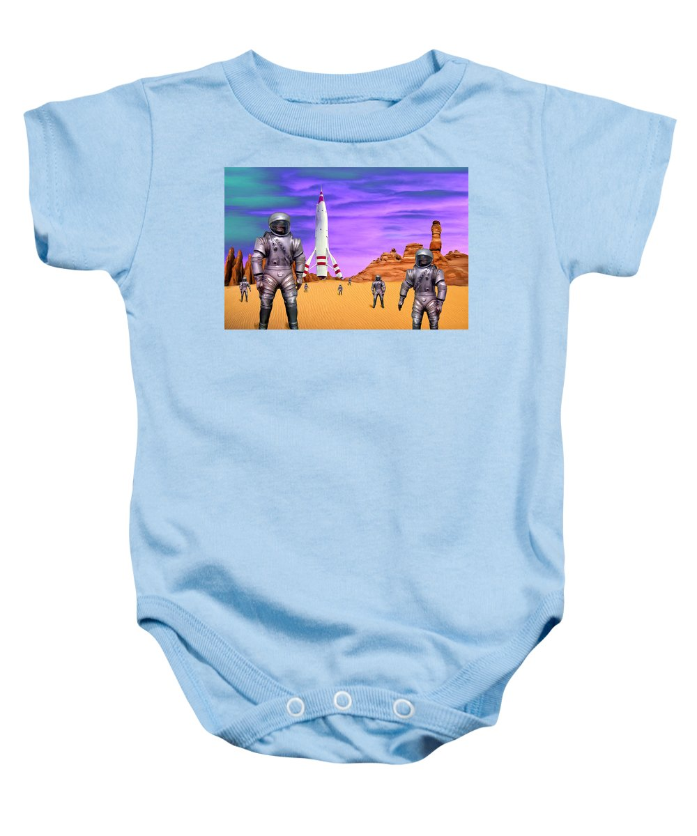 Expedition Baby Onesie featuring the painting Expedition by Dominic Piperata