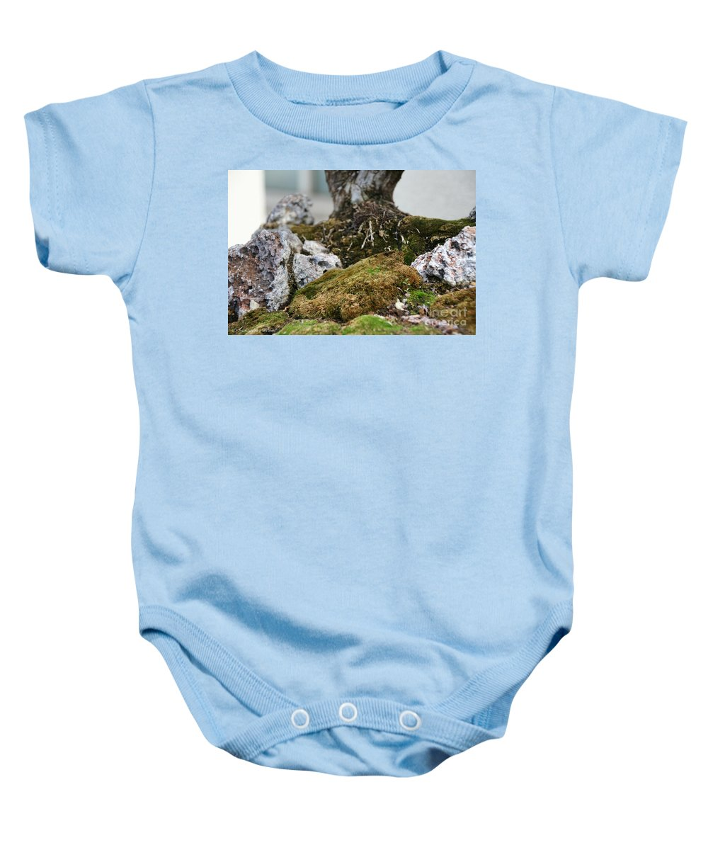 Bonsai Baby Onesie featuring the photograph Exposed Roots by Susan Herber