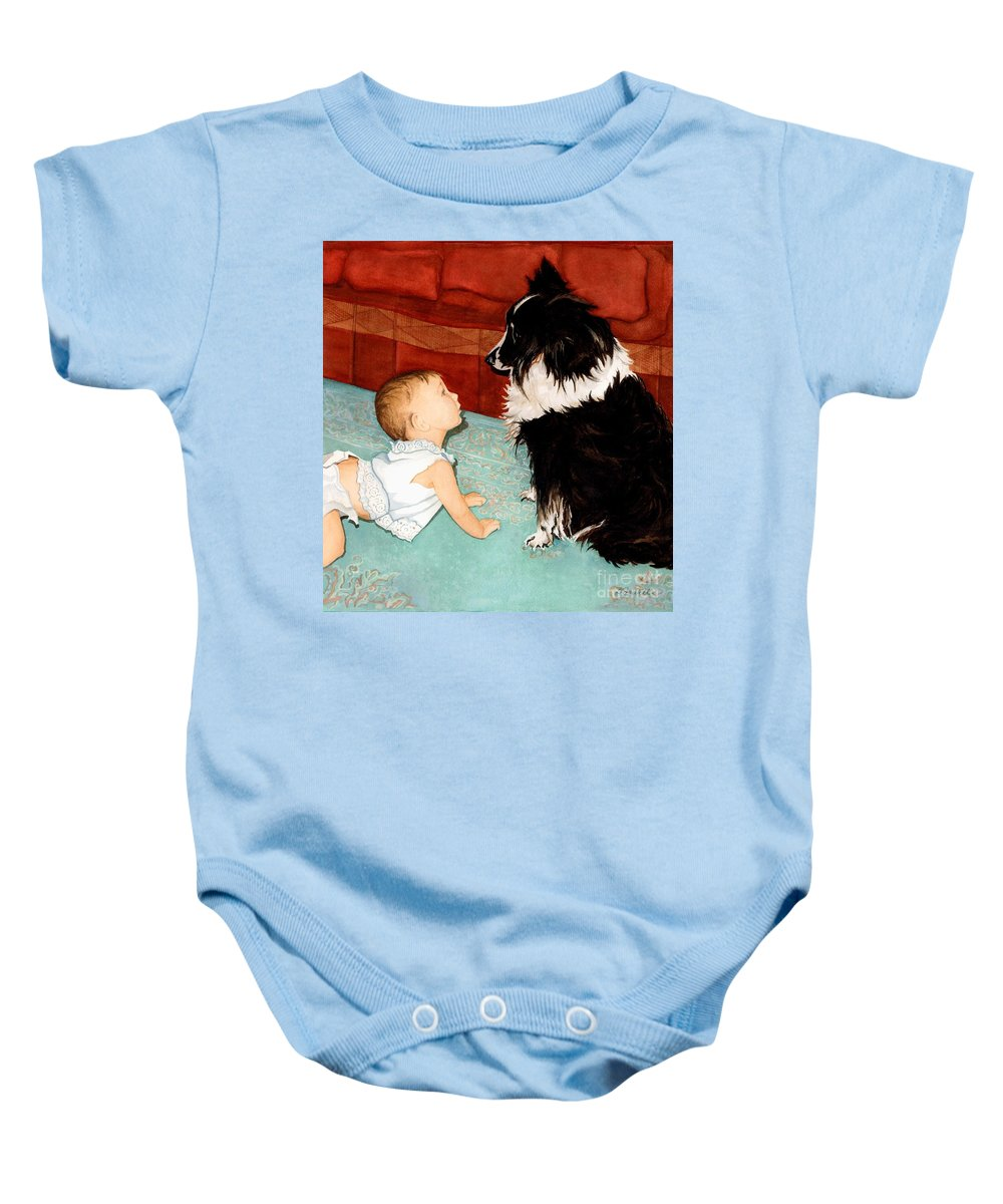 Child Baby Onesie featuring the painting Face-to-nose by Barbara Jewell