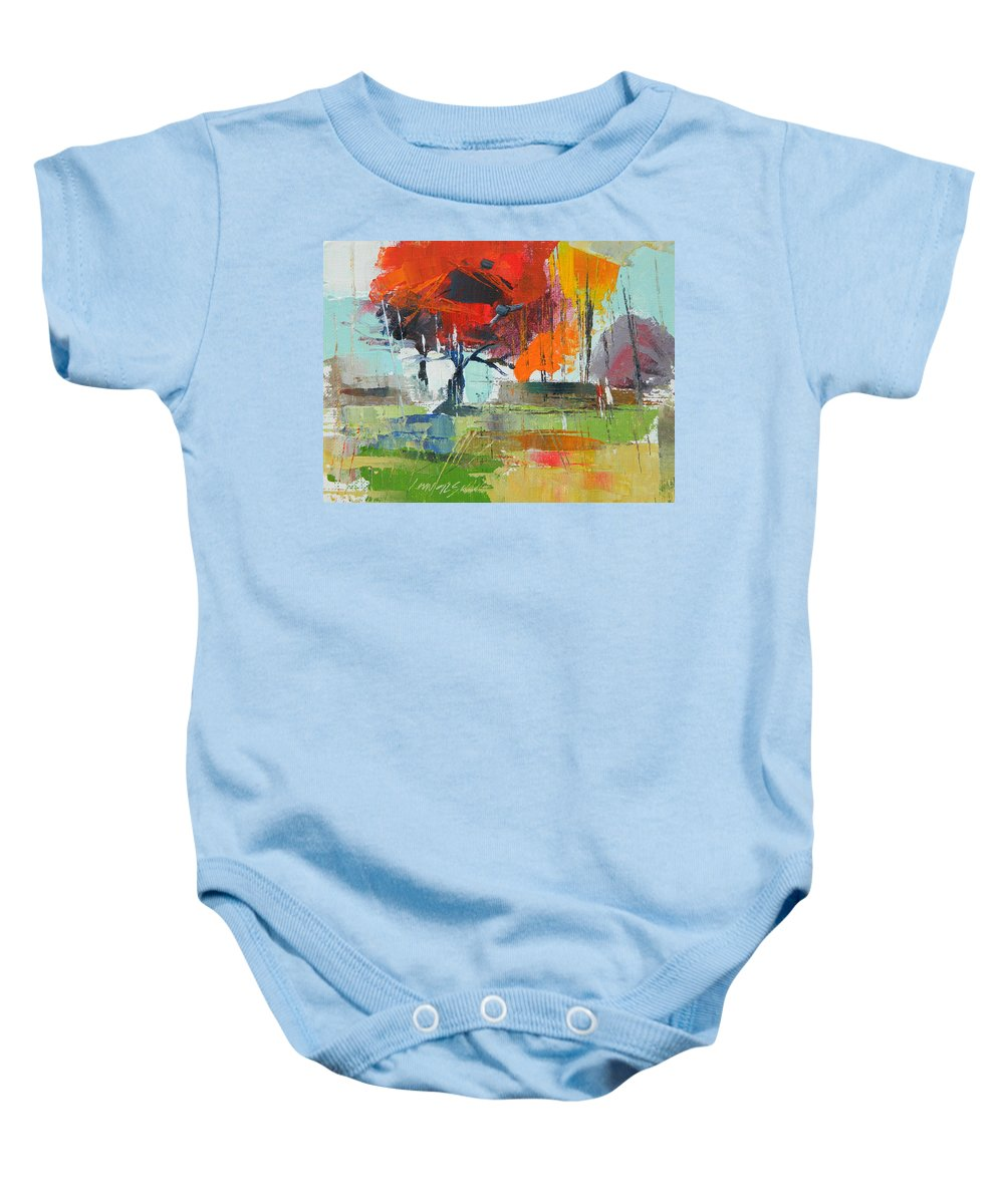 Landscape Baby Onesie featuring the painting Fall In Sharonwood Park 2 by Said Oladejo-lawal