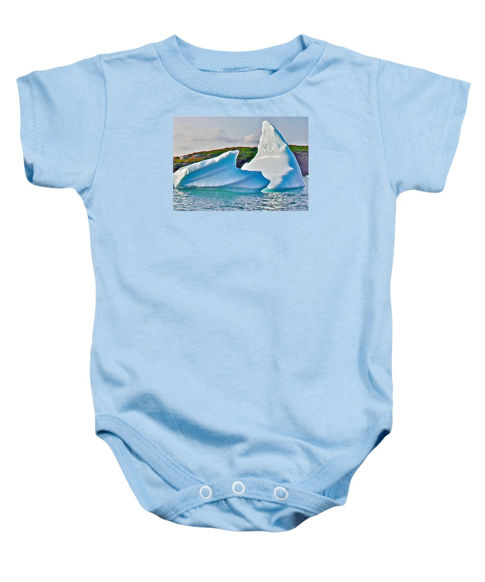 Fallen Clouds Iceberg Closeup In Saint Anthony Bay Baby Onesie featuring the photograph Fallen Clouds Iceberg Closeup In Saint Anthony Bay-newfoundland-canada by Ruth Hager