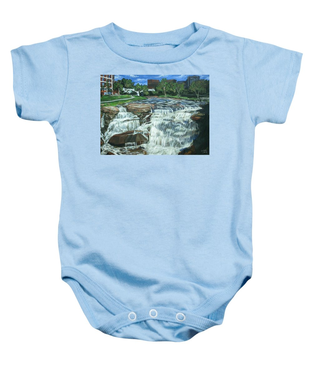 Waterfall Baby Onesie featuring the painting Falls River Park by Bryan Bustard