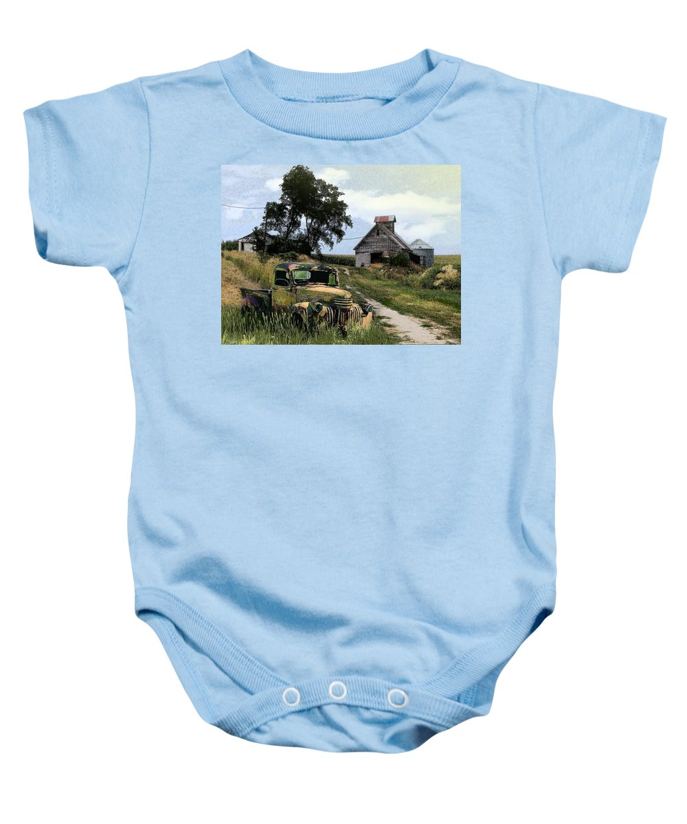 Farm Baby Onesie featuring the photograph Farmed Out by John Anderson