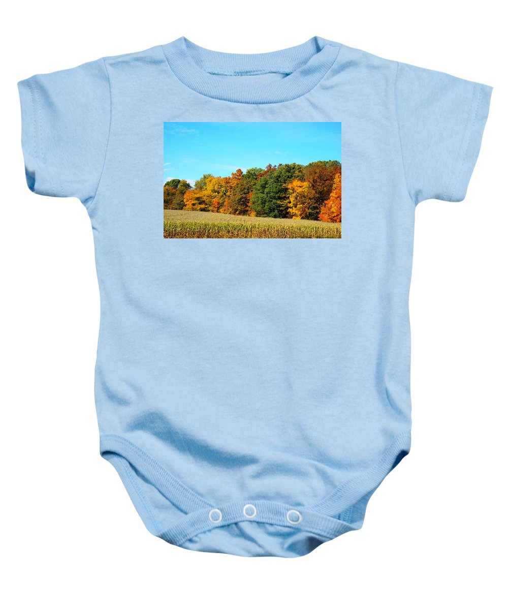 Autumn Leaves Photograph Baby Onesie featuring the photograph Farmfield Fall by Dan Sproul