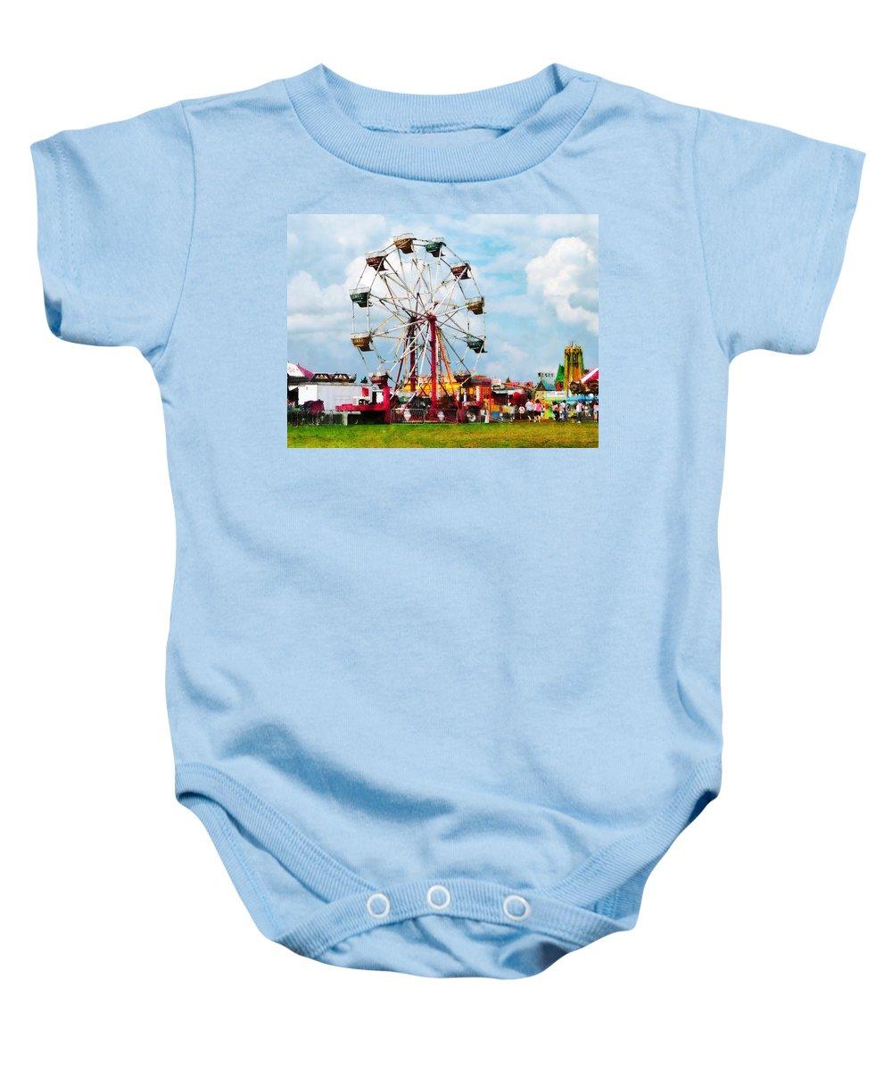 Ferris Wheel Baby Onesie featuring the photograph Ferris Wheel Against Blue Sky by Susan Savad